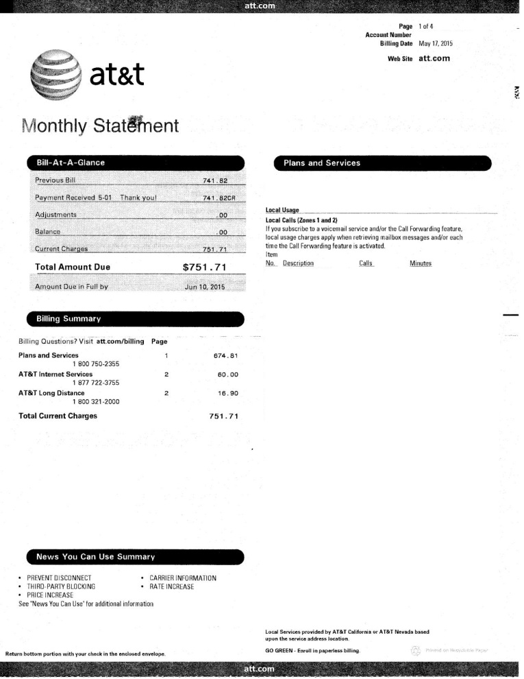 Phone Bill Example